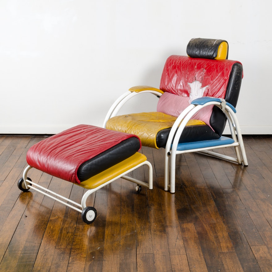 Memphis Group Style Post-Modern Chair and Ottoman