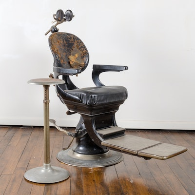 S.S White Diamond Dental Chair and Stool Circa 1920