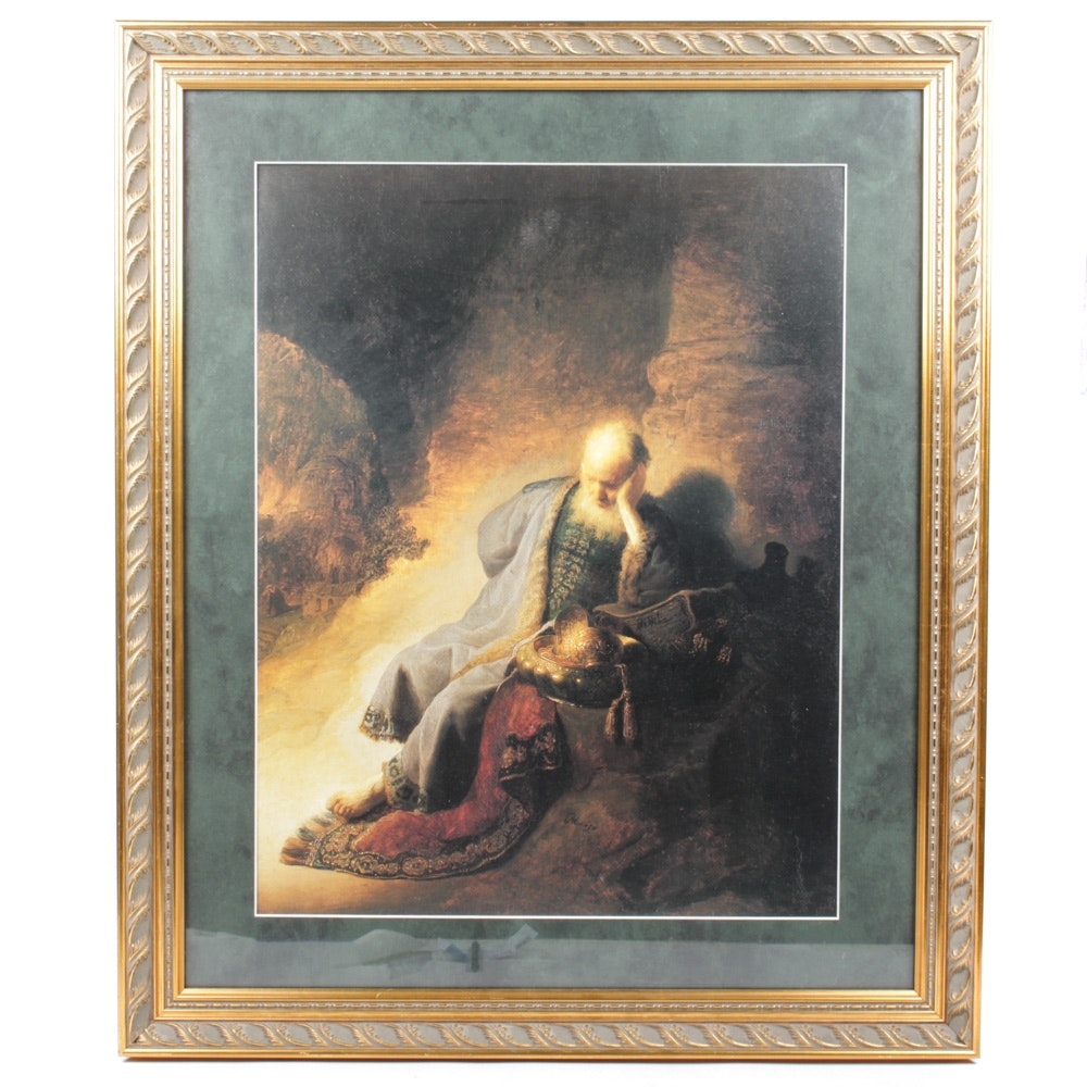 Offset Lithograph of Seated Scholar