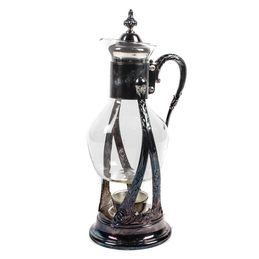Vintage Silver Plate and Glass Coffee Carafe on Stand