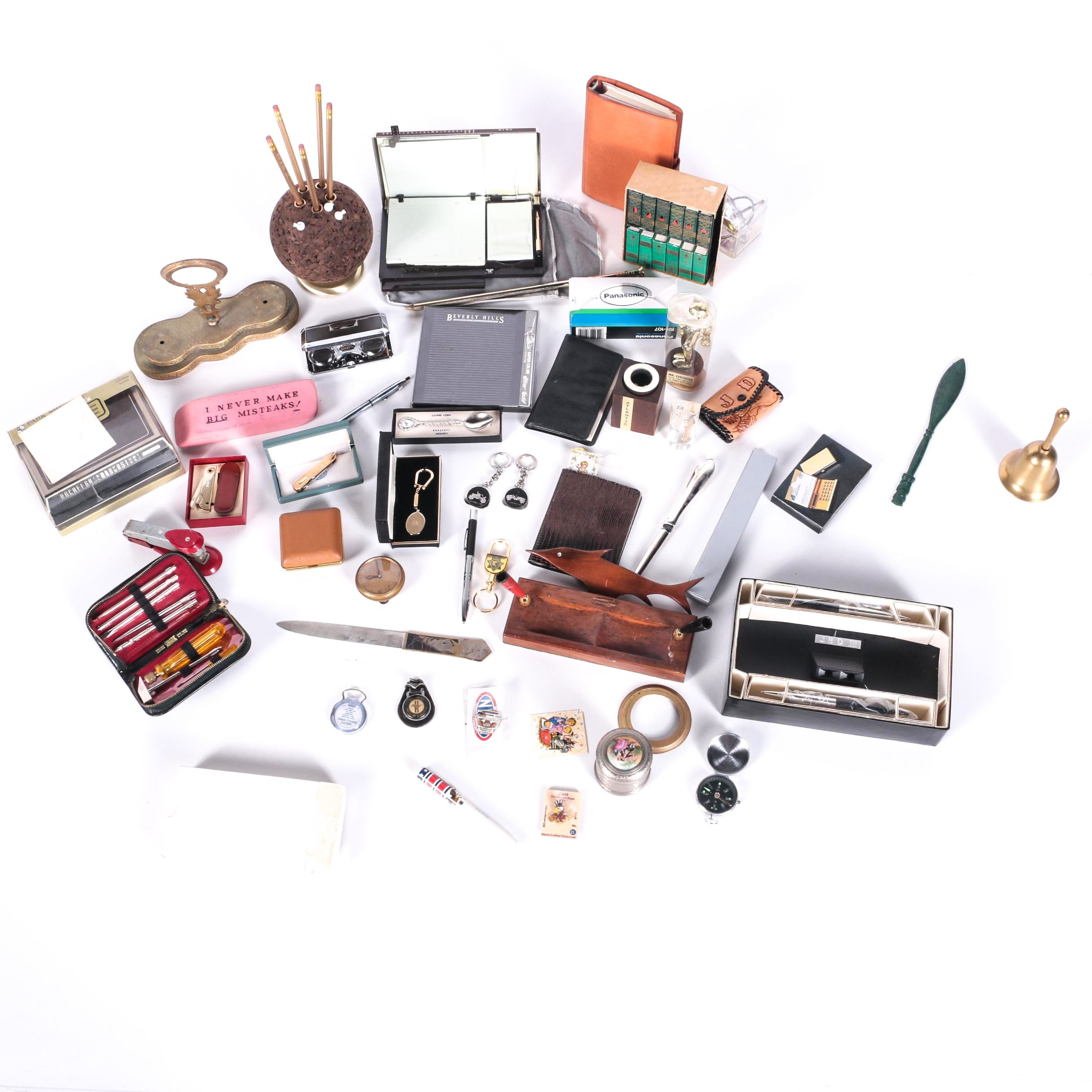 Assorted Office Supplies, Key Chains, Tools, and Collectibles