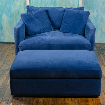 Crate & Barrel Chair and a Half with Ottoman