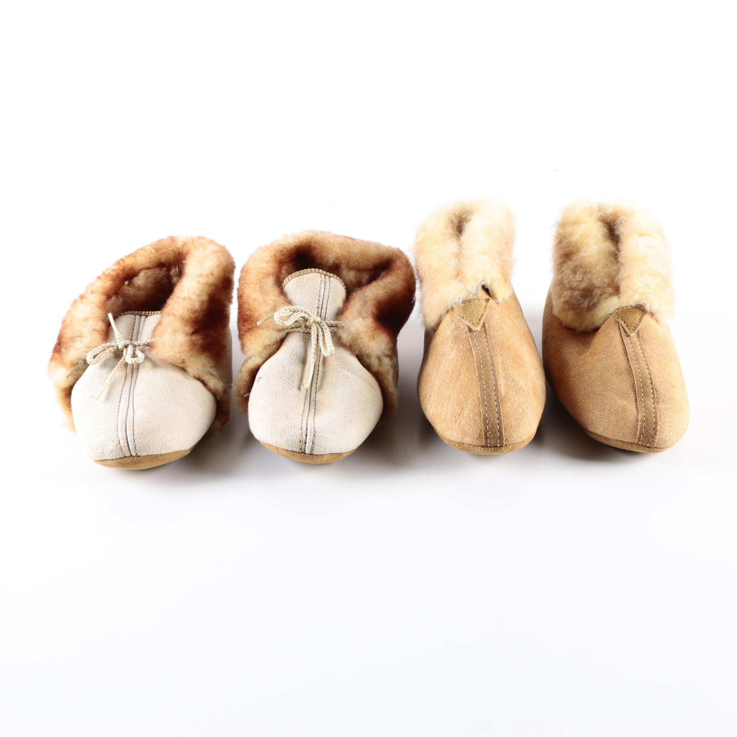 Two Pairs of Sheepskin Loafers