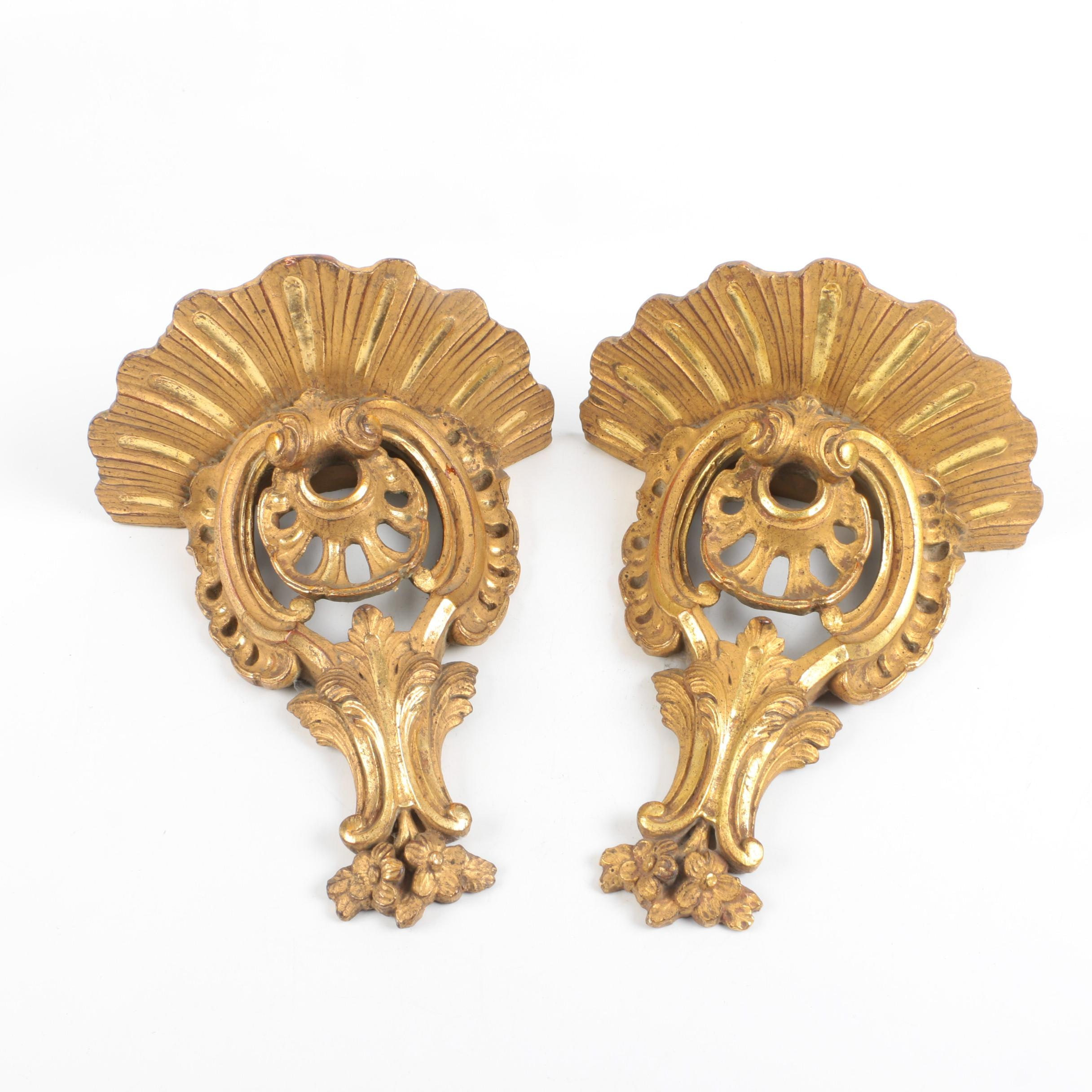 Pair of Gold Tone Wooden Wall Sconces