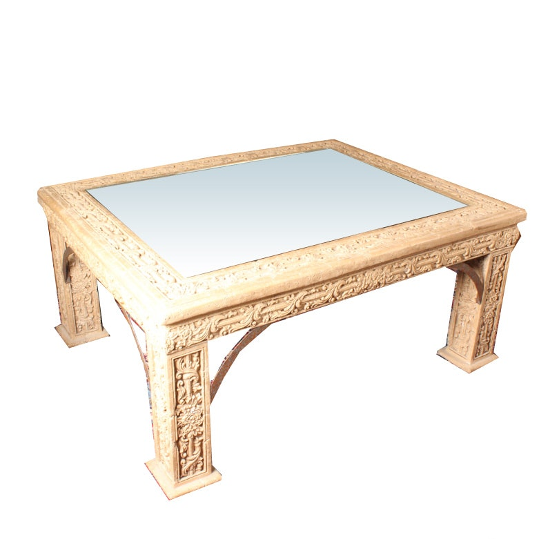 Vintage Glass Top Stone Coffee Table : EBTH