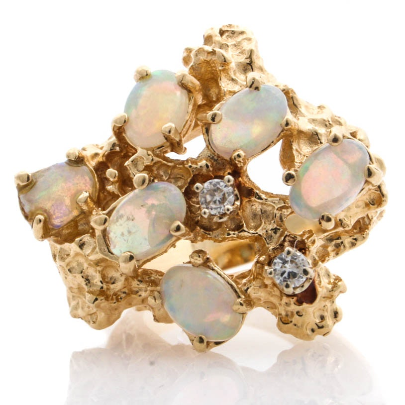 Brutalist Style 14K Yellow Gold Opal and Diamond Ring