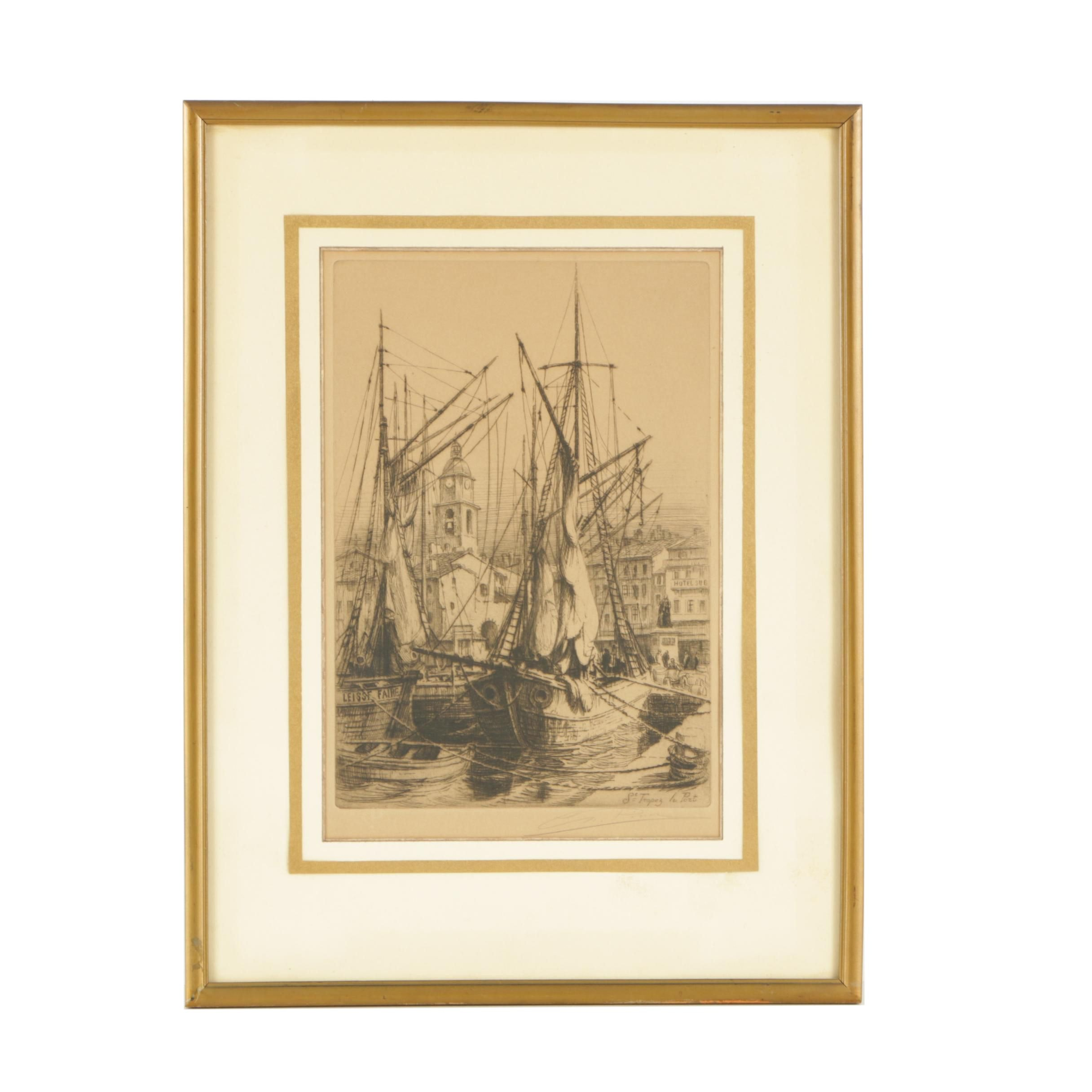 "Charles Pinet Etching on Paper ""St Tropez le Port"""