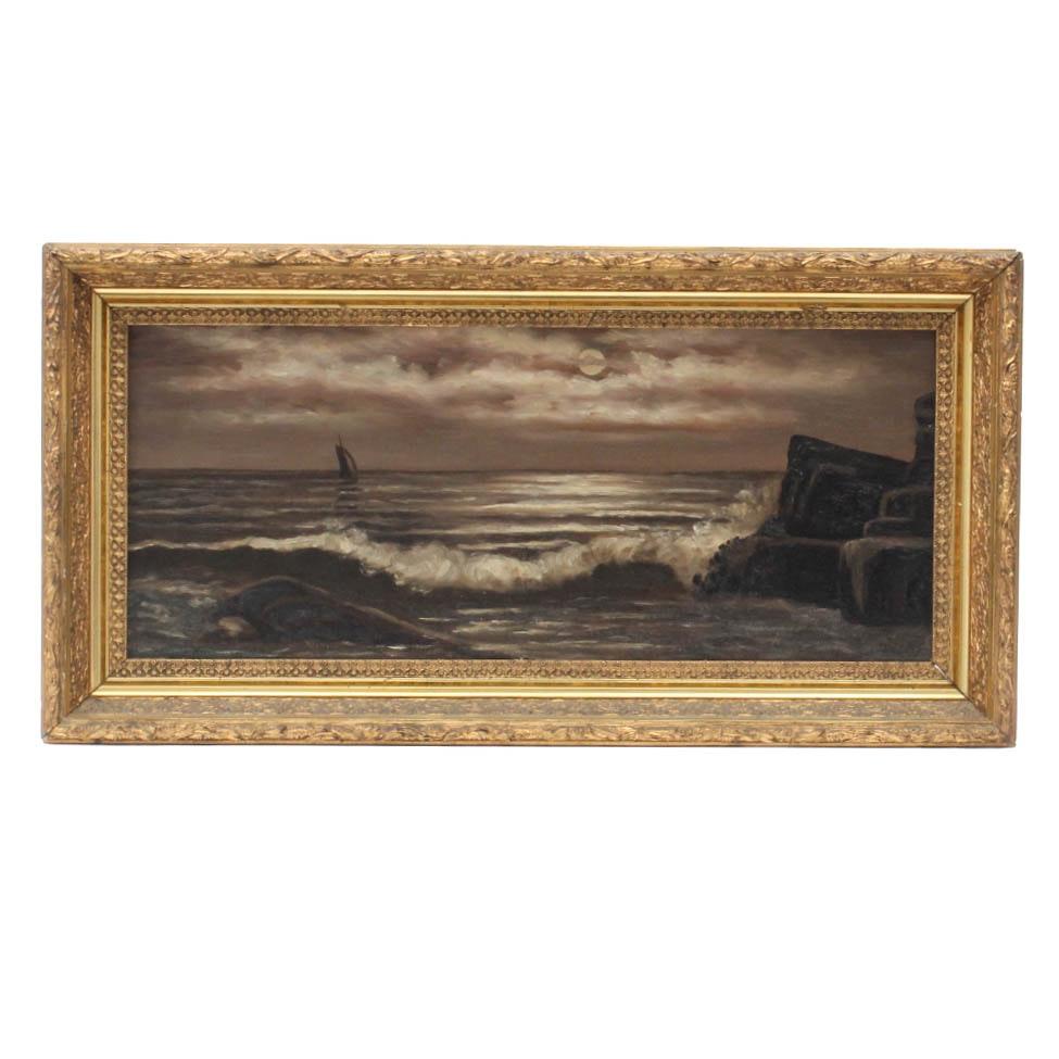 Antique Circa Late 19th Century American School Seascape Oil on Canvas