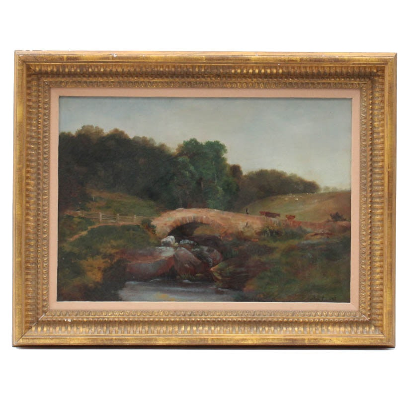 Antique Circa Late 19th Century Evelyn Cox Pastoral Oil Painting on Canvas