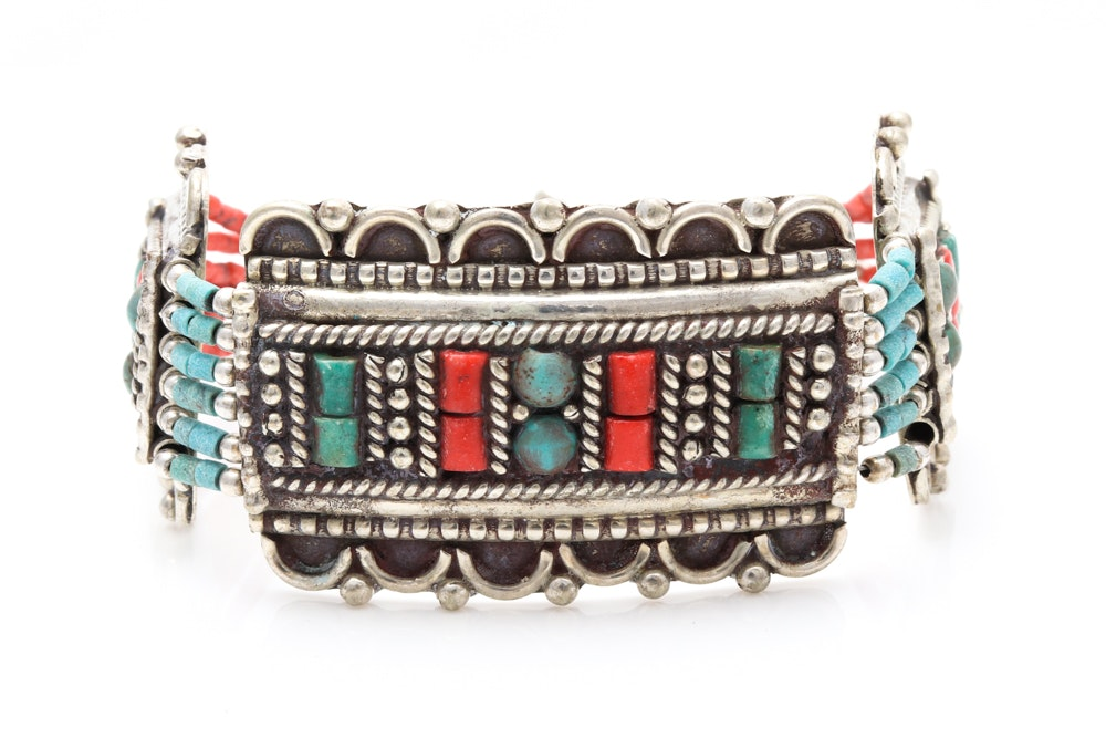 Tibetan Sterling Silver Turquoise and Coral Bracelet