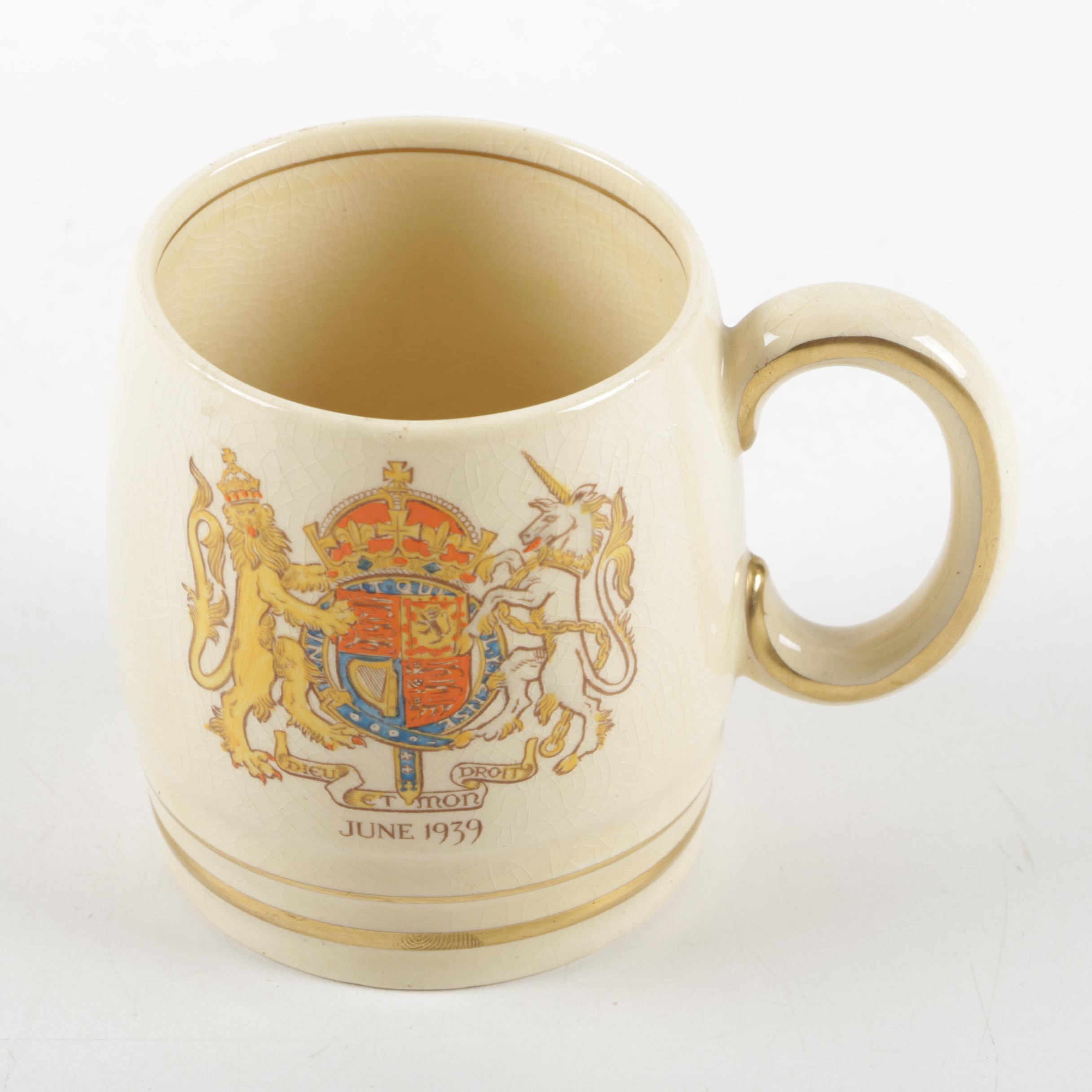 King George and Queen Elizabeth Visit Souvenir mug