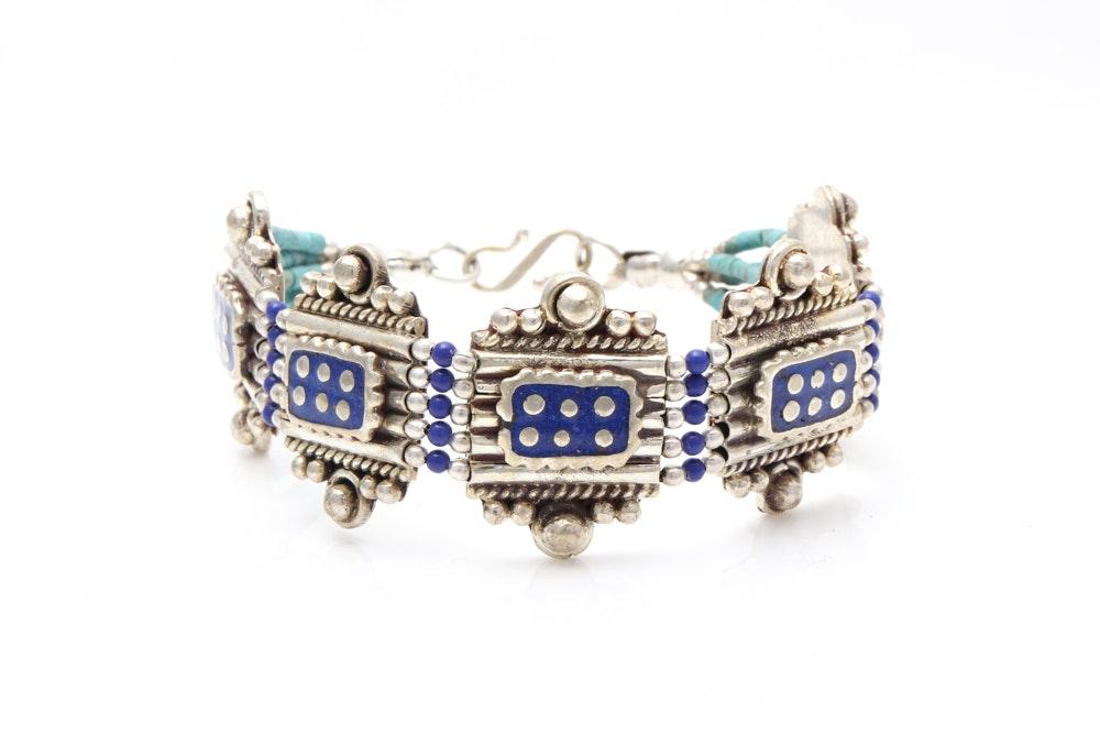 Tibetan Sterling Silver Turquoise and Lapis Lazuli Bracelet