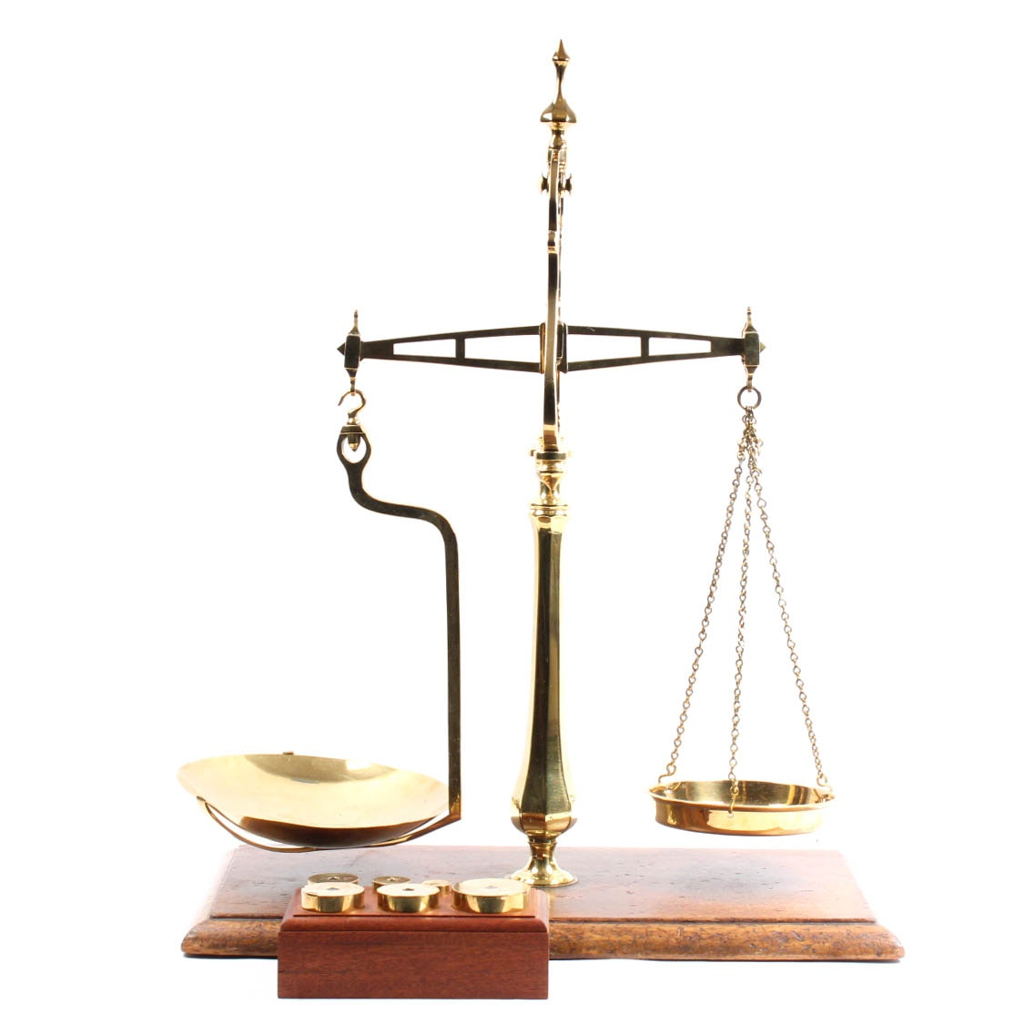 Vintage English Brass Scale and Weights