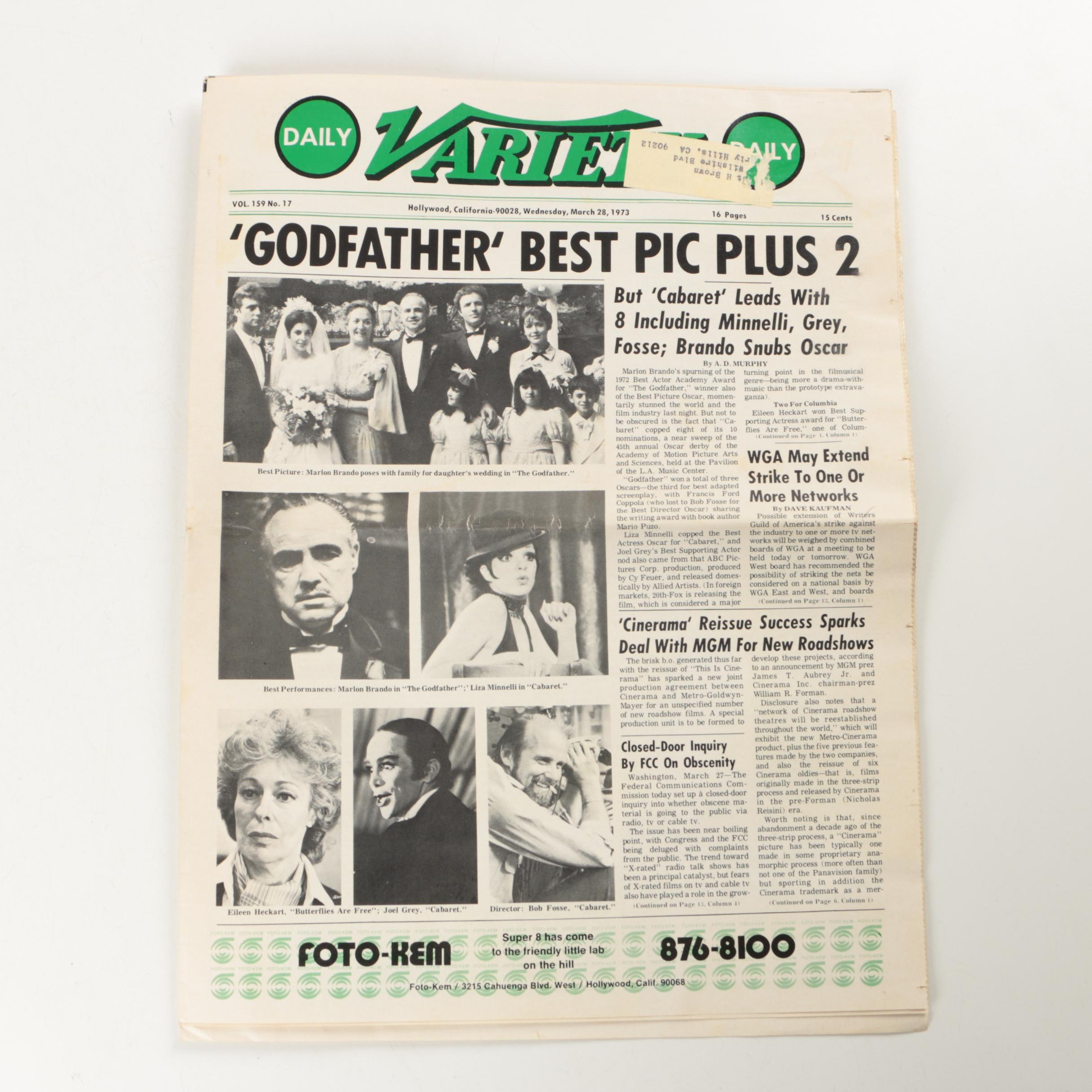March 28, 1973, Daily Variety Magazine Featuring The Godfather