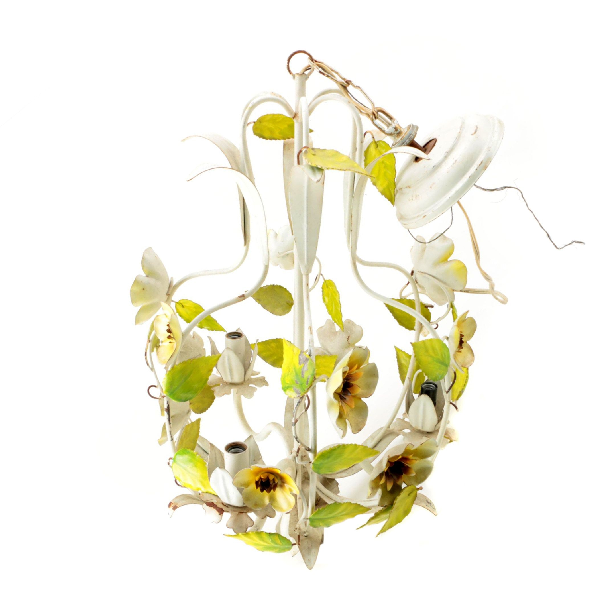 Floral Tole Style Chandelier