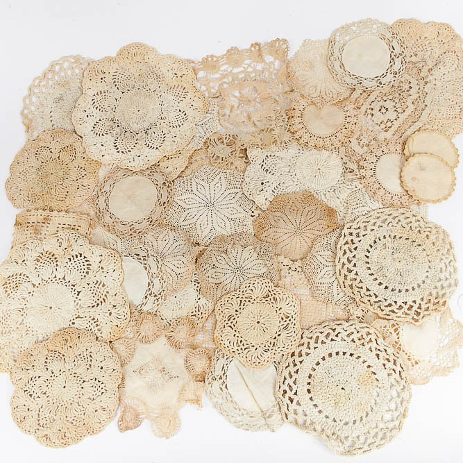 Large Assortment of Vintage Crocheted Doilies