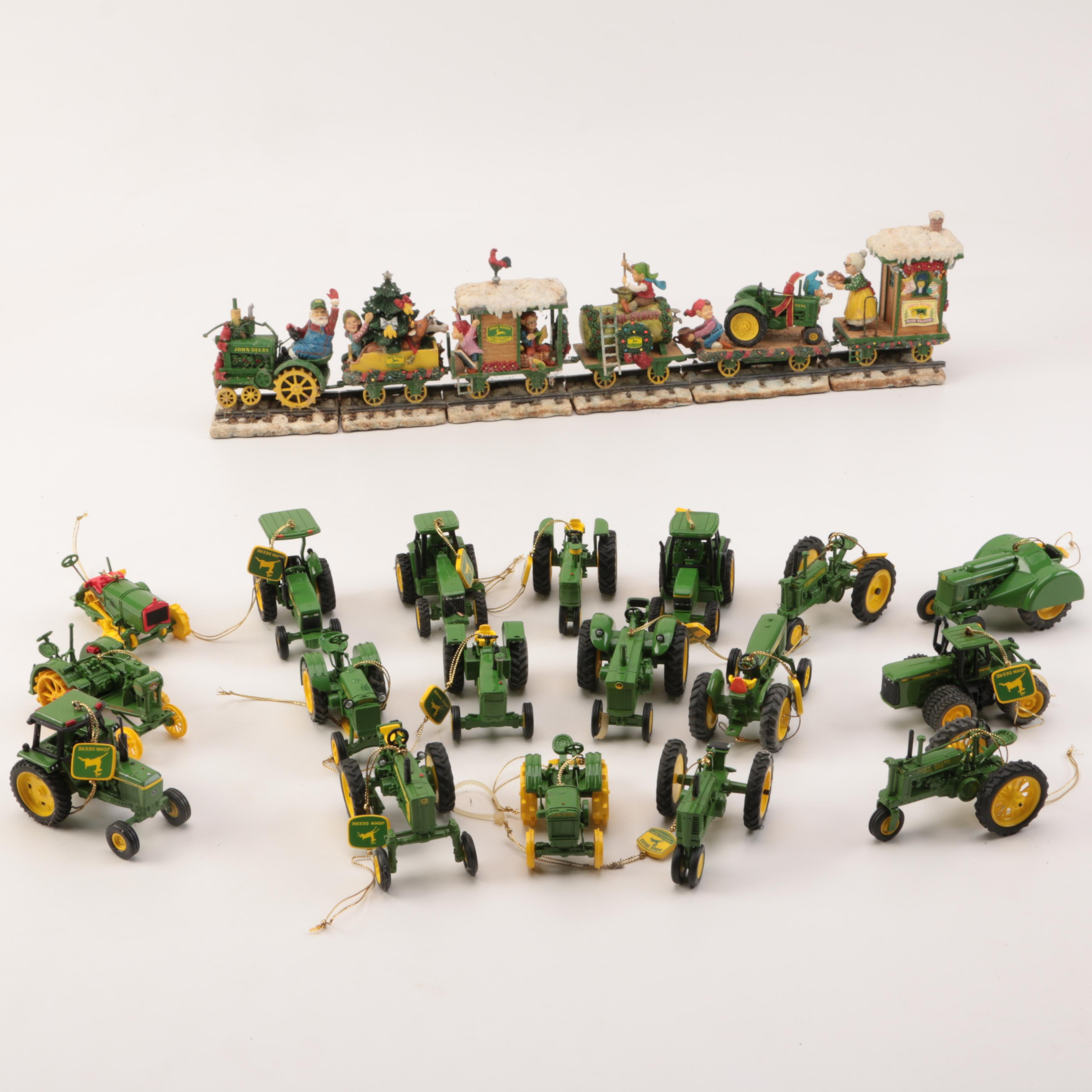 Collection of John Deere Christmas Decor and Ornaments