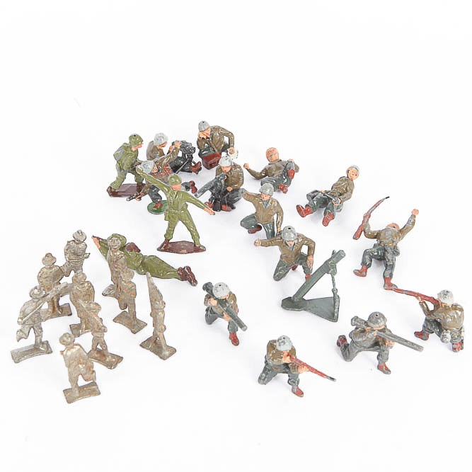 Collection of Vintage Cast Metal Army Figures