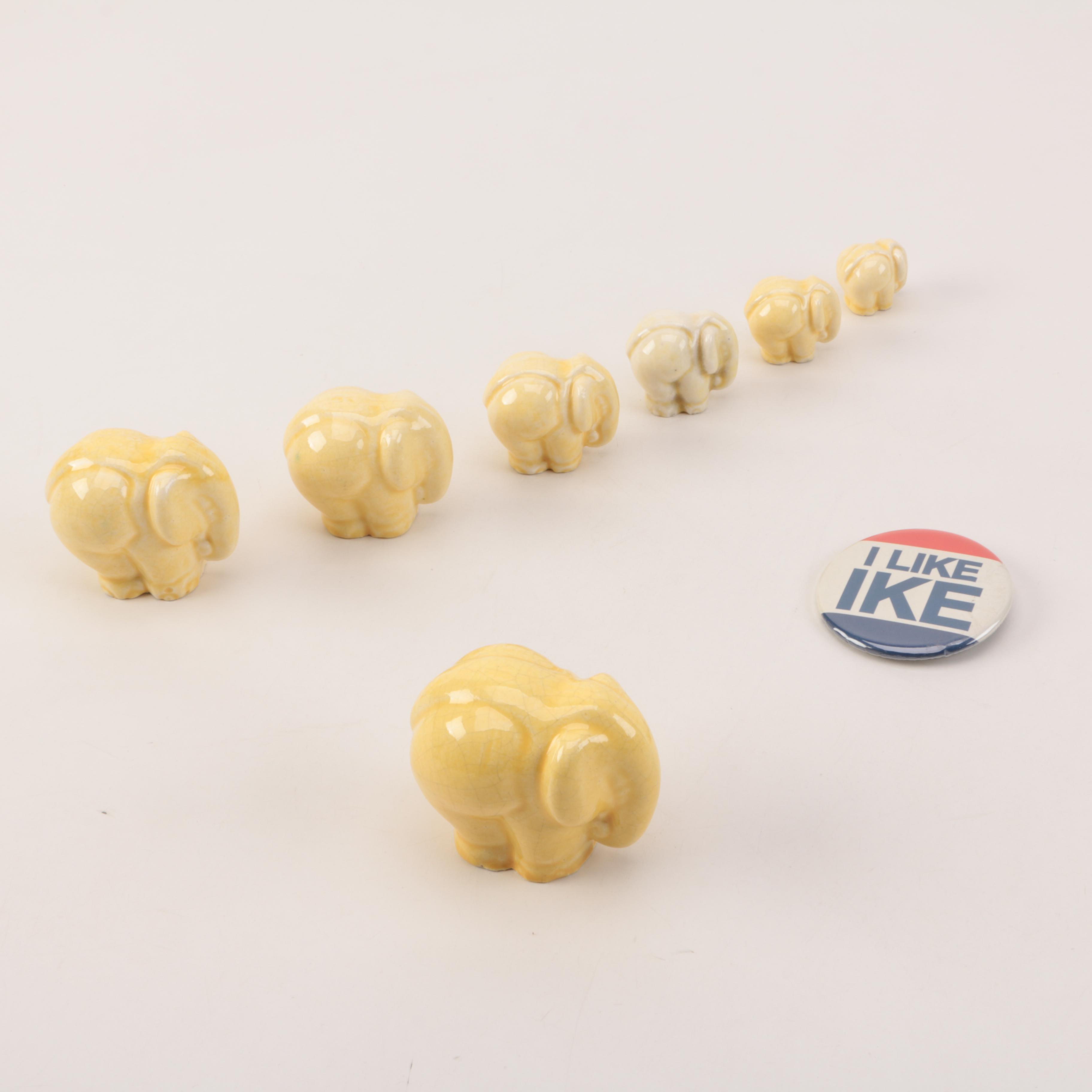 """Yellow Ceramic Elephants and """"I Like Ike"""" Button"""
