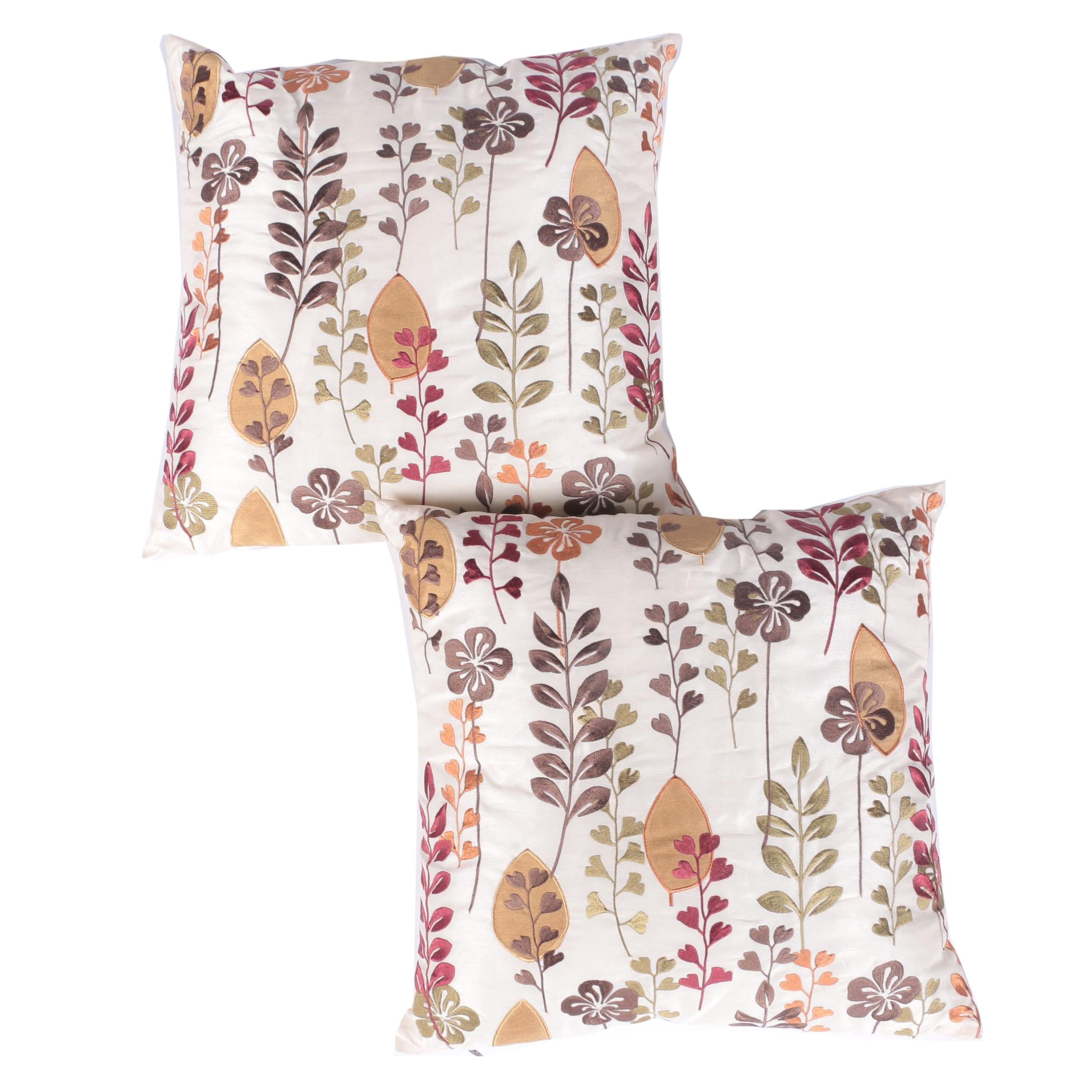 Pair of Pier 1 Machine Embroidered Accent Pillows
