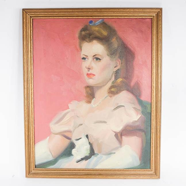 Vintage Oil on Canvas Portrait of a Lady