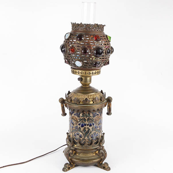 Hinks & Sons Vintage Ornate Torchiere Table Lamp