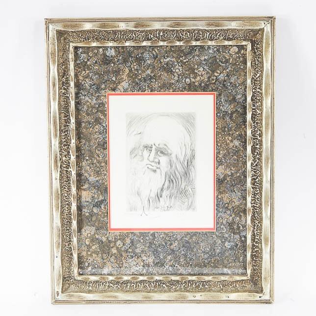 "Salvador Dali Restrike Etching ""Leonardo Da Vinci"""