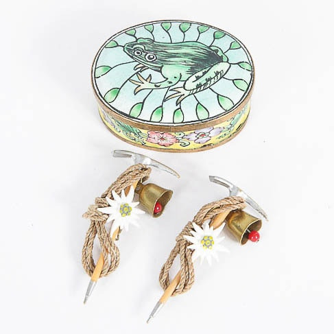 Novelty Brooches and Enameled Trinket Box