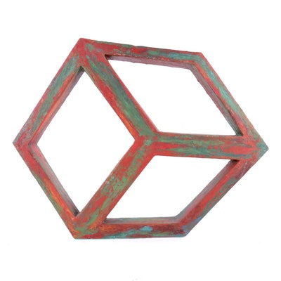 """Bill Schiffer Wax on Wood Sculpture """"Cube"""""""