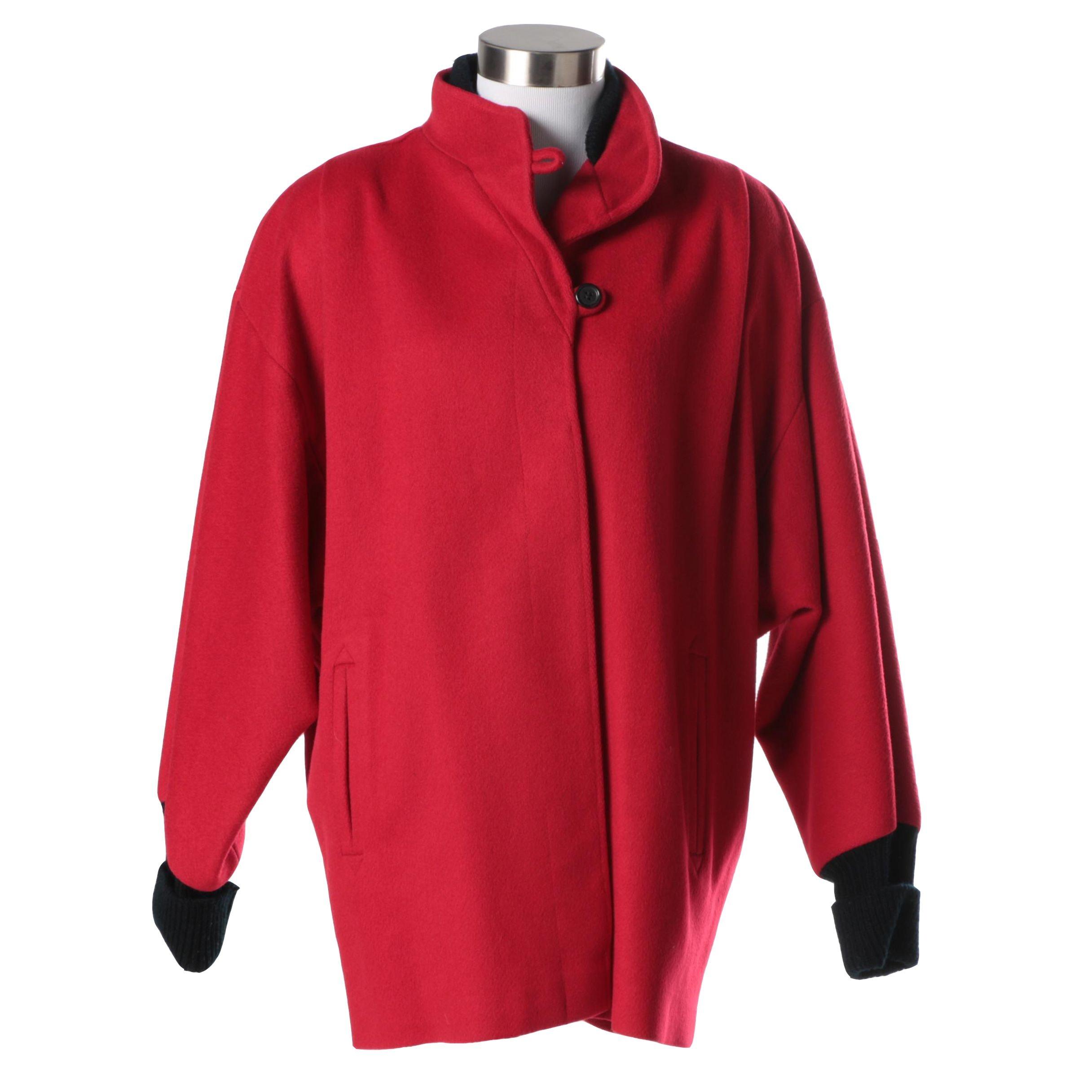 Women's Vintage Oversized Red Coat