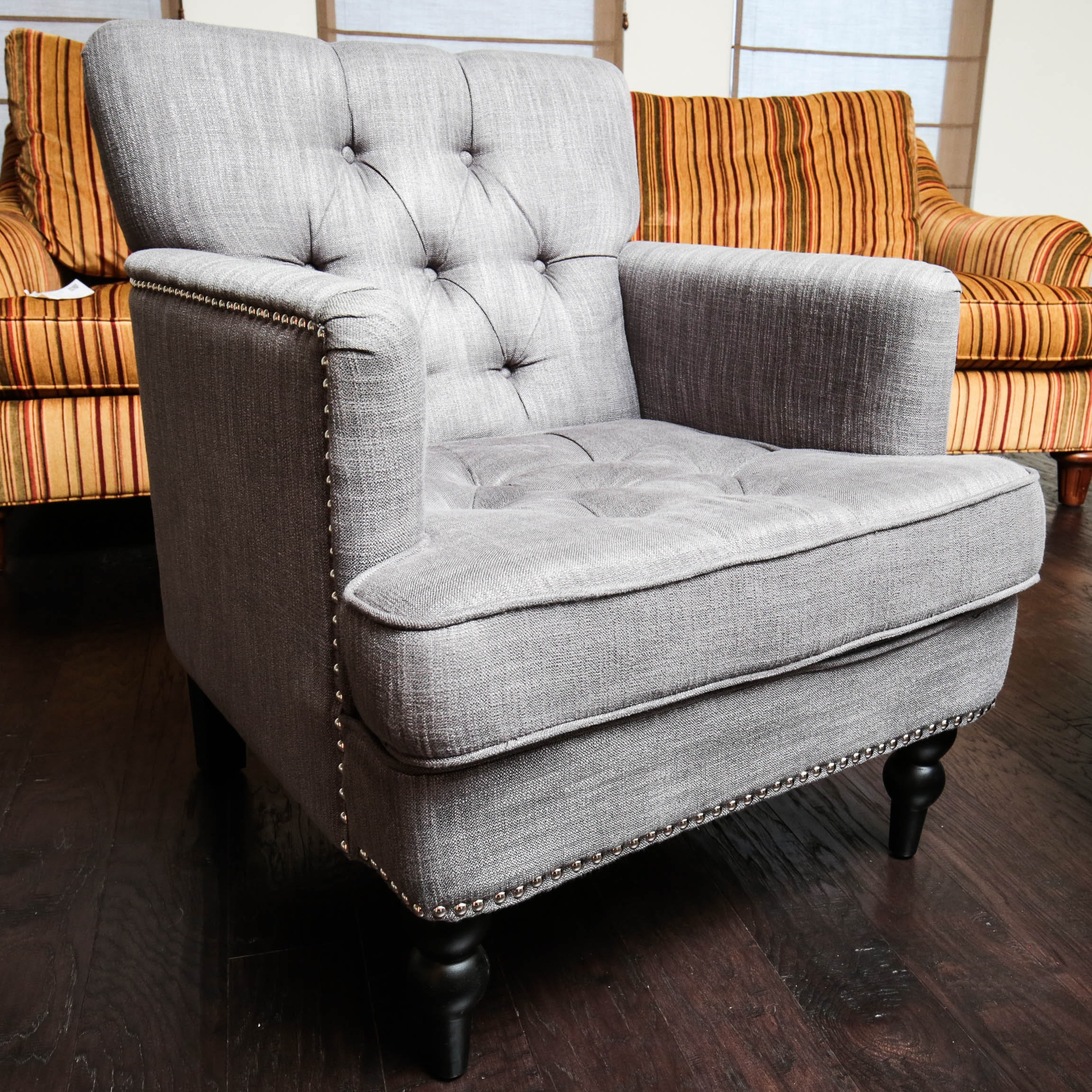 Gray Upholstered Arm Chair