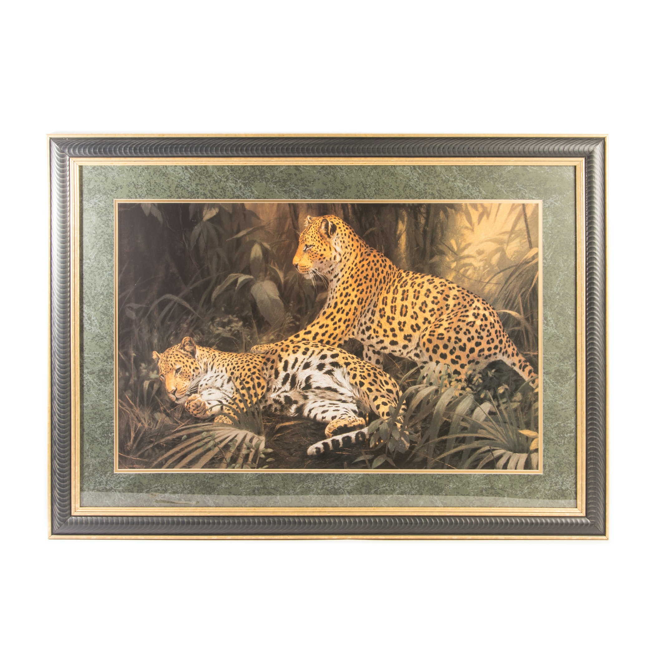 Large Offset Lithograph Depicting Leopards