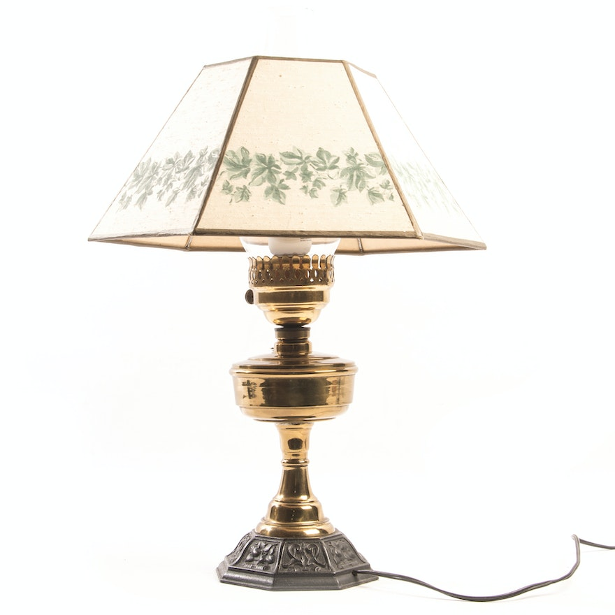 Vintage Brass And Cast Iron Table Lamp Ebth