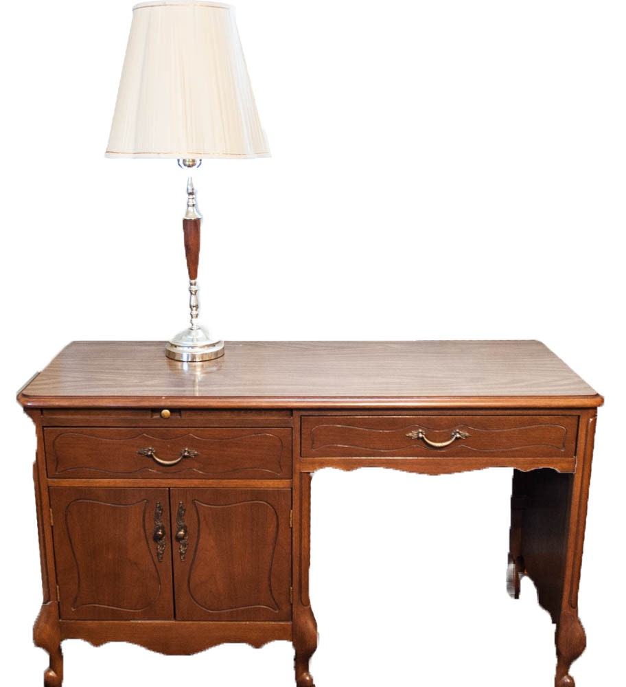Mid-Century Hill-Rom Desk with Chair and Vintage Table Lamp