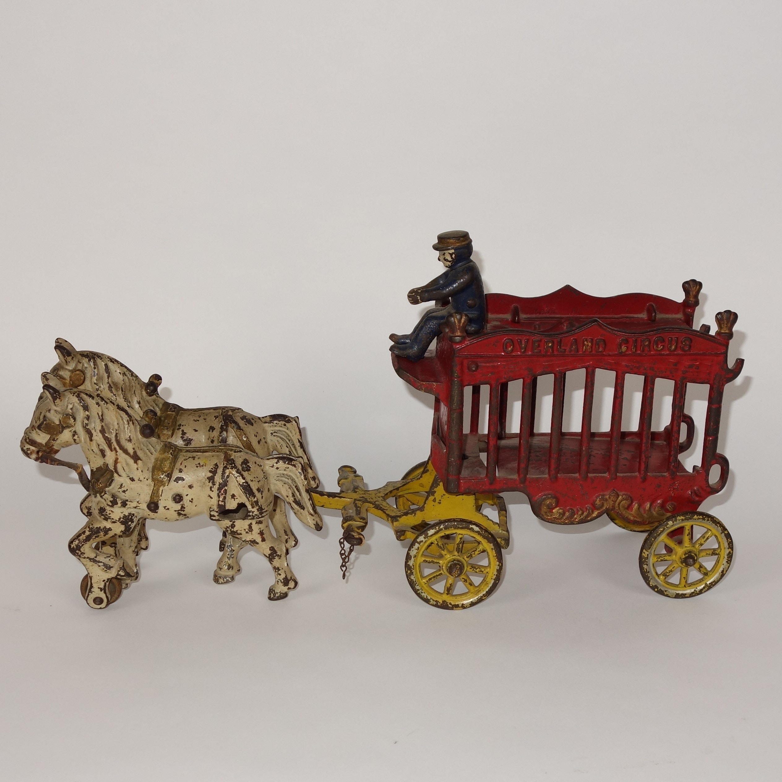 "Vintage Kenton ""Overland Circus"" Cast Iron Horse and Wagon Toy"