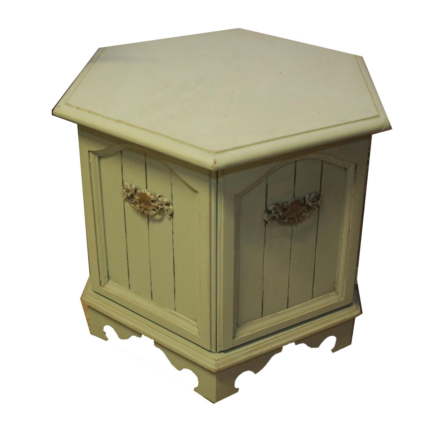 Hexagon Painted Wood Cabinet