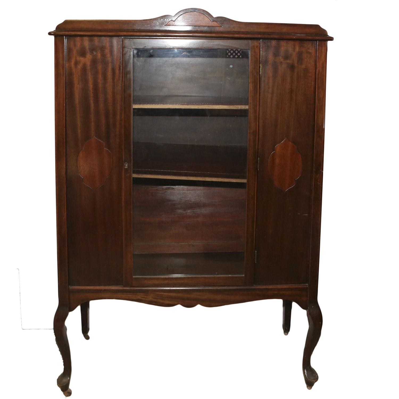 Antique Victorian Style Mahogany China Cabinet