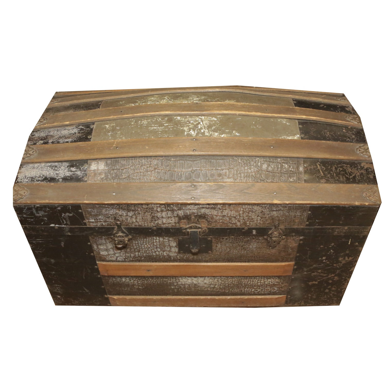 Antique Dome Trunk with Faux Alligator Pressed Tin