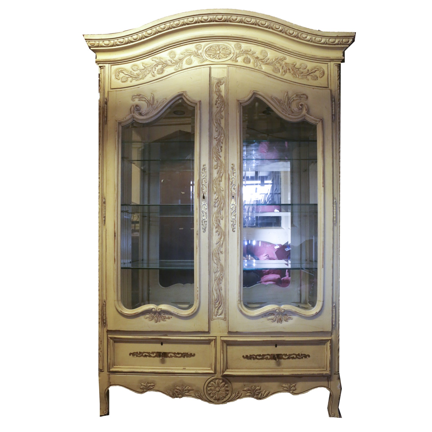 French Provencial Style China Glass Front Cabinet from Hekman