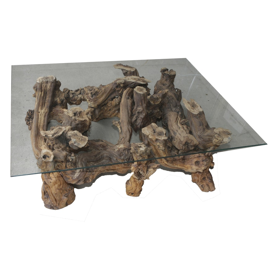 Glass Top Coffee Table With Grapevine Root Base EBTH - Grapevine coffee table