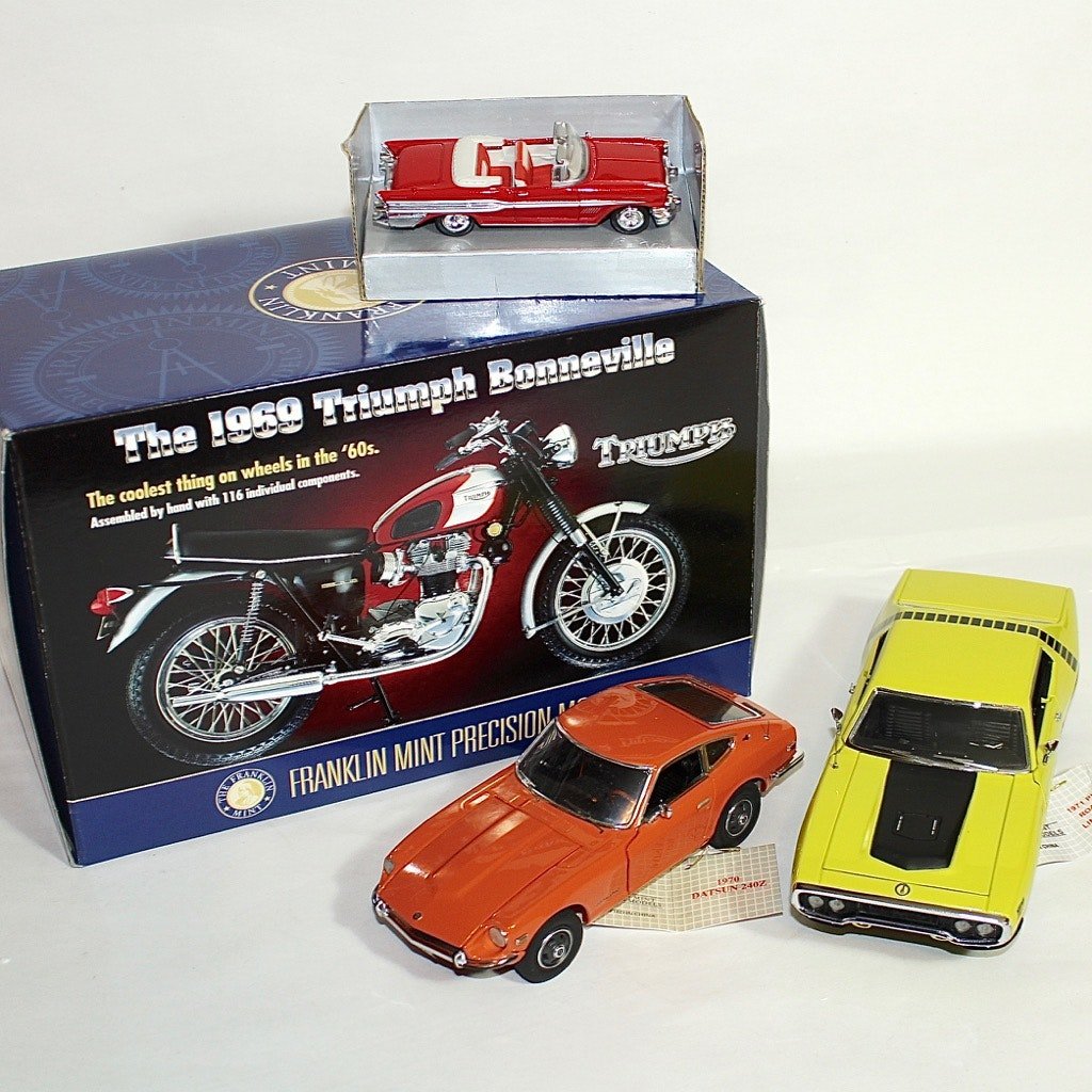 1970s Plymouth, Datsun, and Triumph Die Cast Models by Franklin Mint