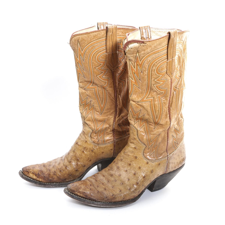 Vintage Ostrich Cowboy Boots