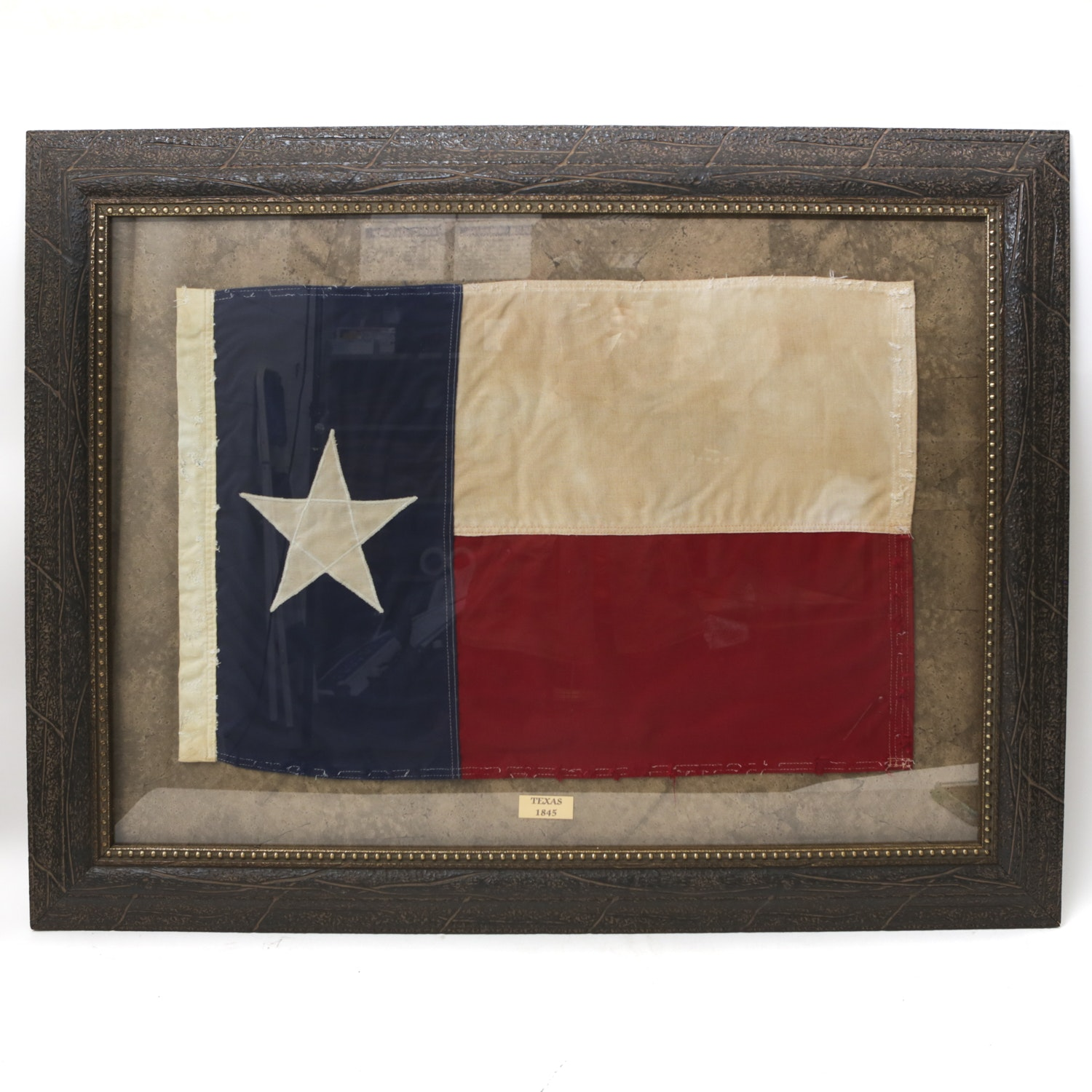 Commemorative Cloth Texas Flag in Frame