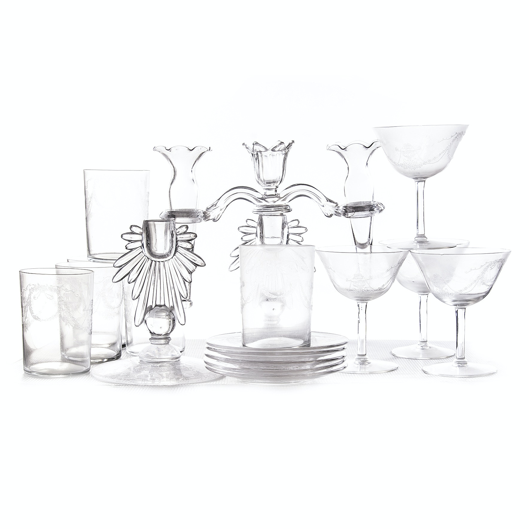 Vintage Etched Glass