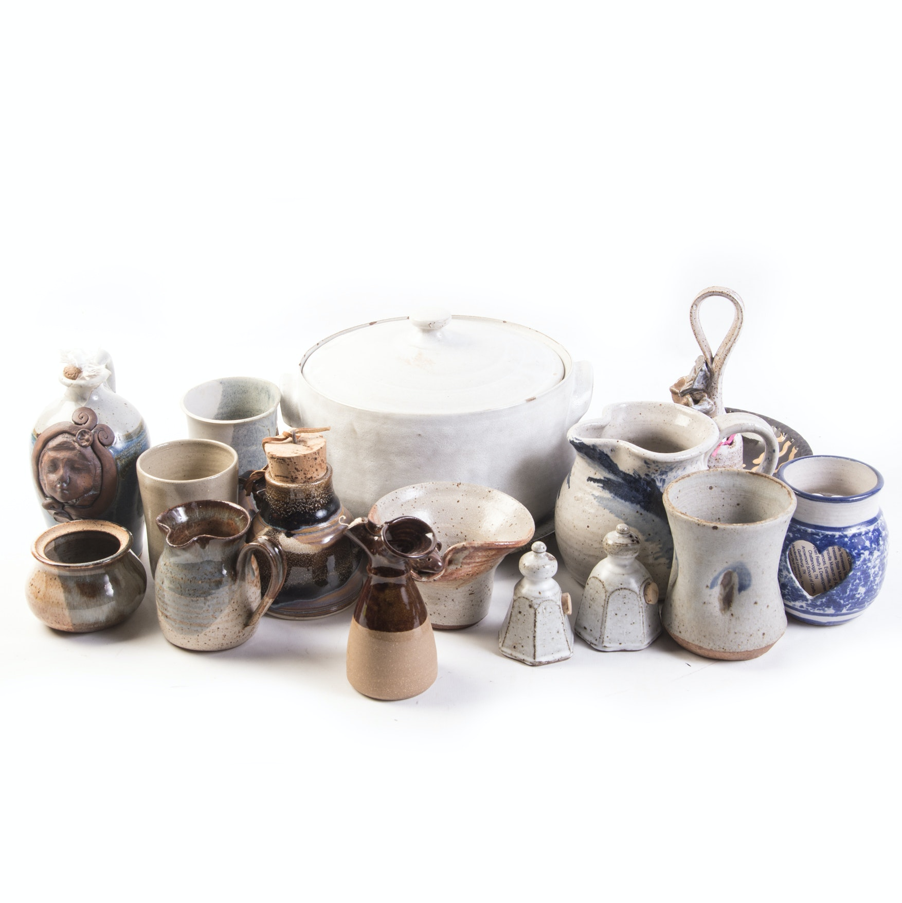 Generous Collection of Hand Thrown Stoneware Pottery