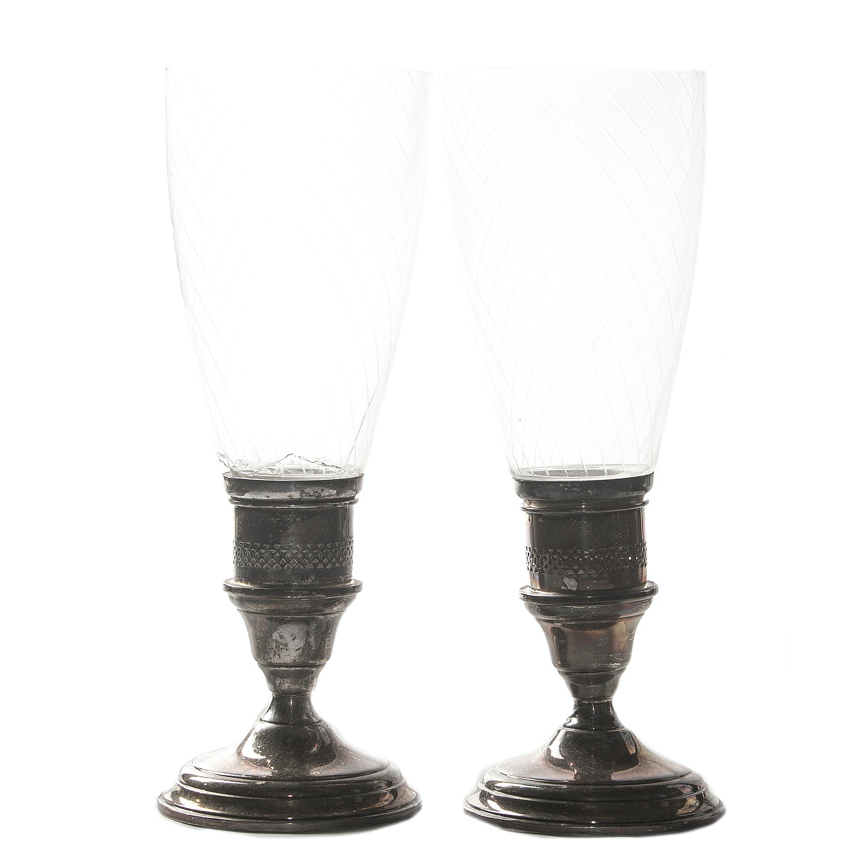 Black, Starr & Gorham Weighted Sterling Silver Hurricane Candleholders