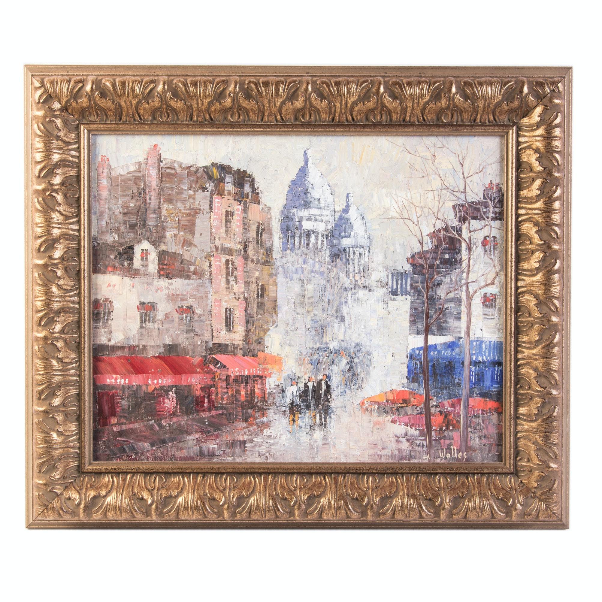 "Walles Original Acrylic on Canvas ""Place du Terine"""