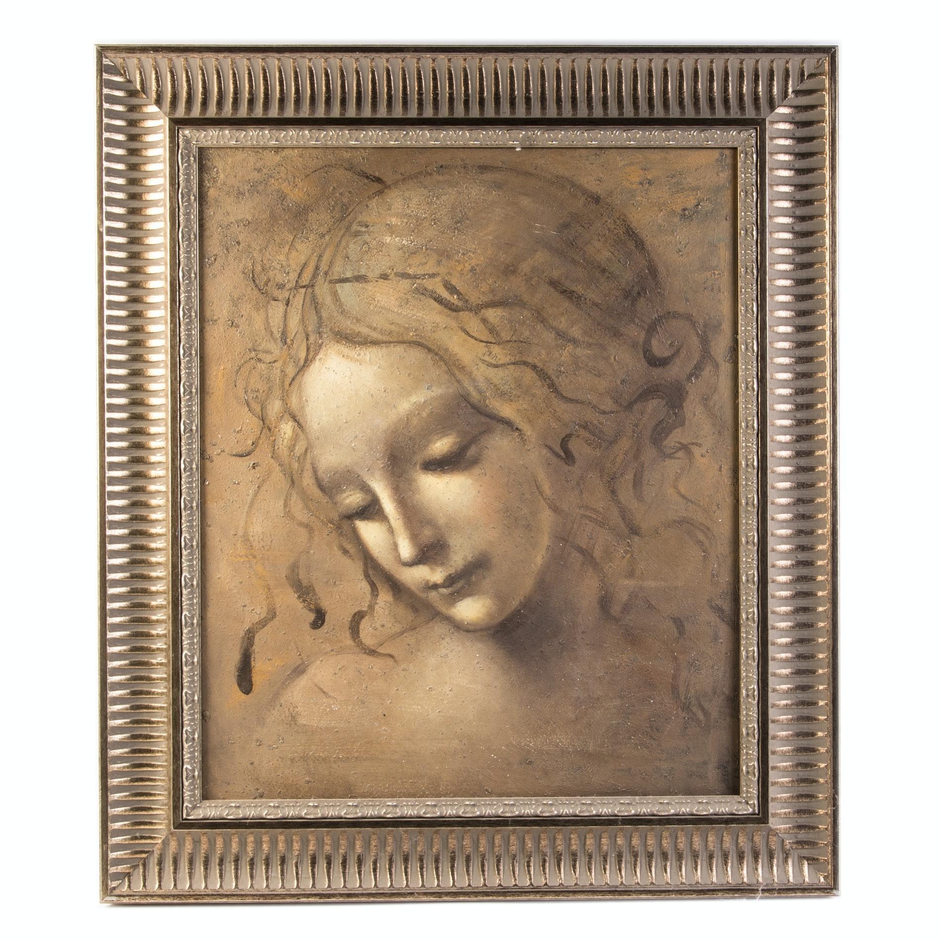 "After Leonardo DaVinci Acrylic on Canvas ""La Scapigliata"""
