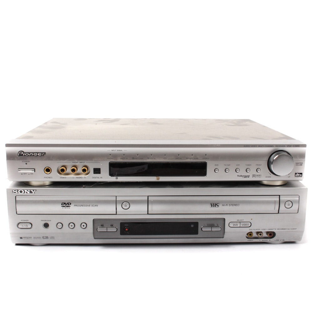 Sony DVD/VHS Player With Pioneer VSX-C300 Receiver