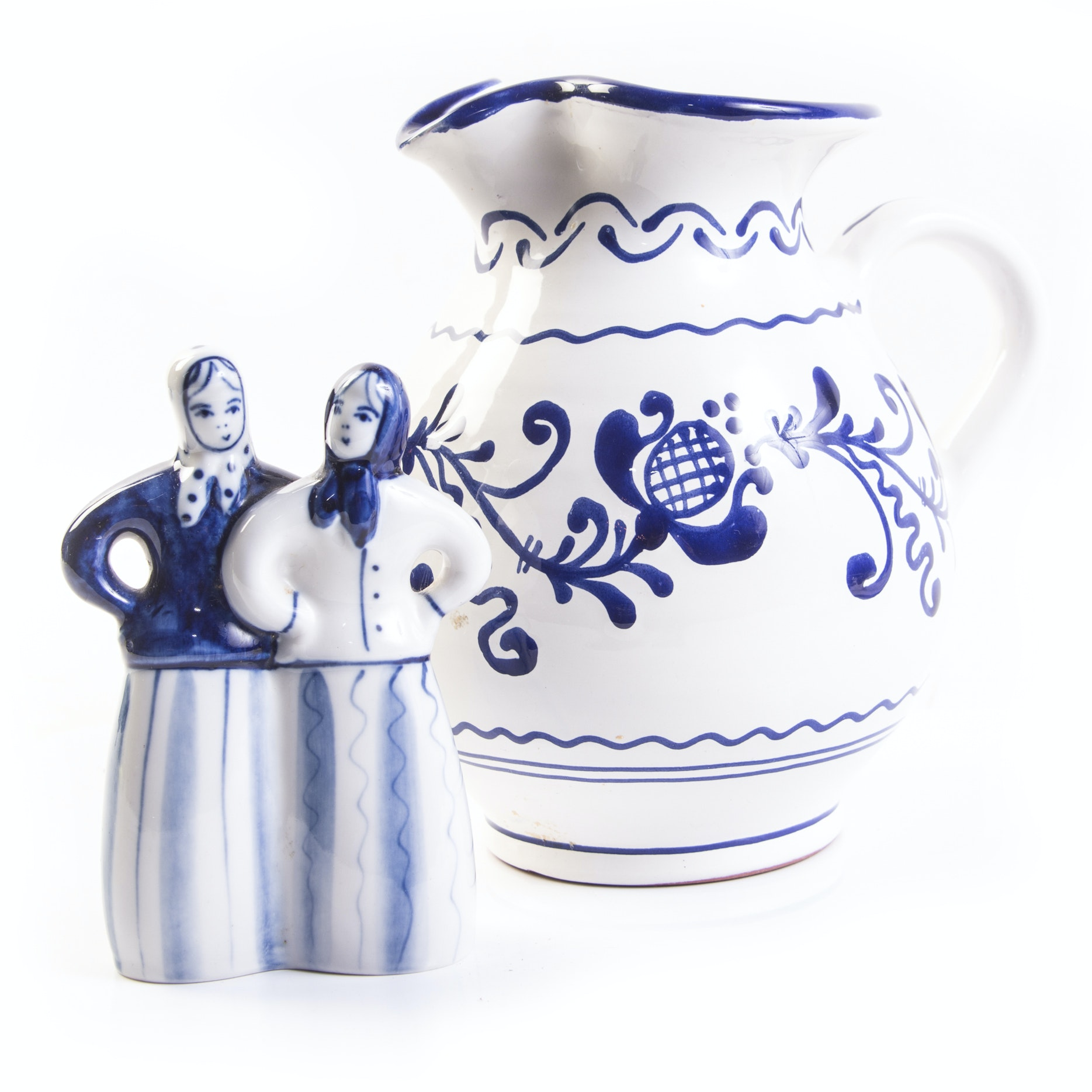 Vintage Blue and White Russian and Hungarian Tableware